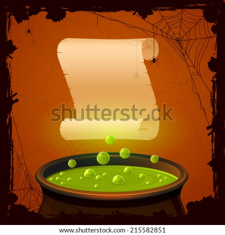Halloween background with witches cauldron and paper, illustration. - stock photo