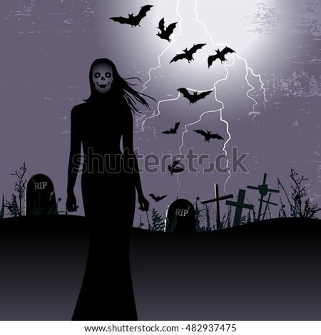 Halloween background with woman ghost - illustration