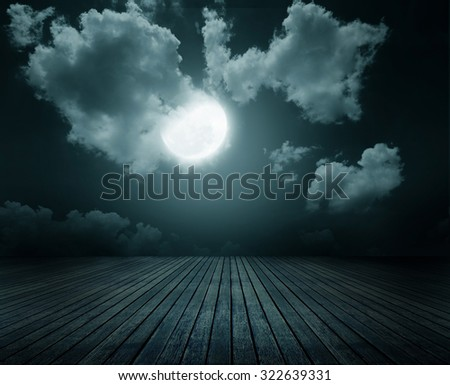 Halloween background, wood floor with moon, Dark style. - stock photo