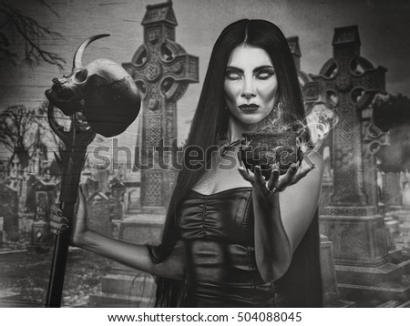 Halloween backgrounds with witch woman and spooky cemetery