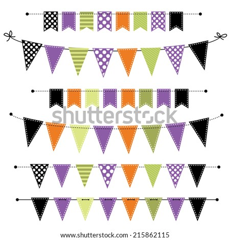 Halloween banner, bunting or flags on isolated white background, for scrapbooking - stock photo
