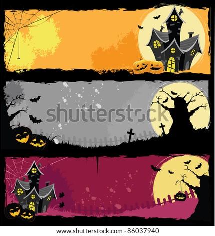 Halloween Banners - stock photo