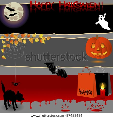 Halloween banners with various symbols. Raster version.