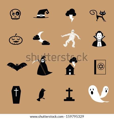 Halloween black and white icon set - stock photo