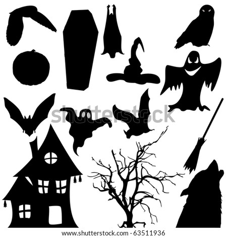 Halloween black object silhouette isolated on white - stock photo