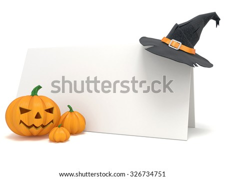 Halloween blank card, with witch hat and Jack O Lantern pumpkins. 3D render illustration isolated on white background - stock photo
