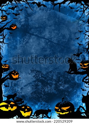 halloween blue background with pumpkins, cats, bats and trees - stock photo