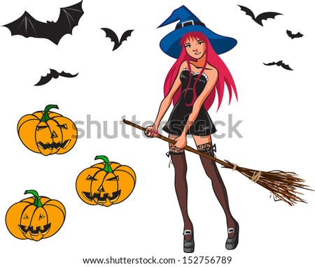 Halloween bright color cartoon collection with young pretty witch with long red hair and broom, 3 variants of bat and 3 variants of pumpkins. /Halloween cartoon collection with witch, bat and pumpkin