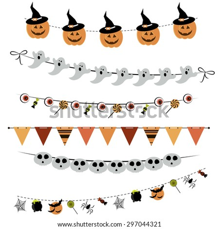 Halloween bunting and garland. Raster version - stock photo