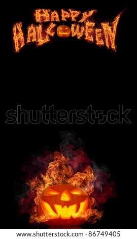 Halloween burning pumpkin on black background - stock photo