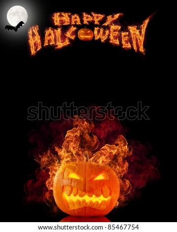 Halloween burning pumpkin with free space for text - stock photo
