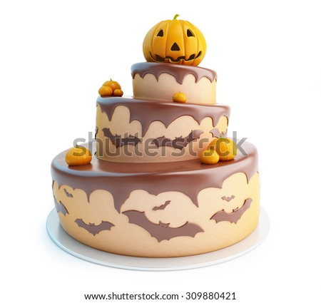 halloween cake 3d Illustrations on a white background - stock photo