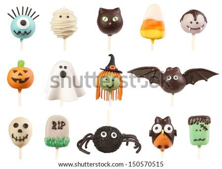 Halloween cake pops isolated on white - stock photo