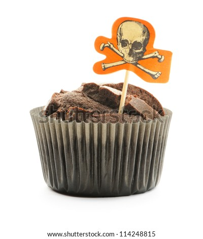 Halloween cake with decoration isolated on white - stock photo
