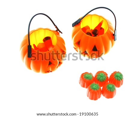 Halloween candies and holders - stock photo