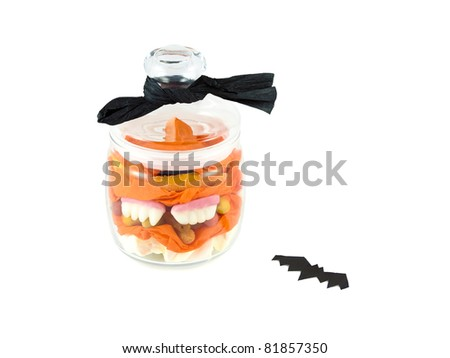 Halloween Candy in a glass jar - stock photo