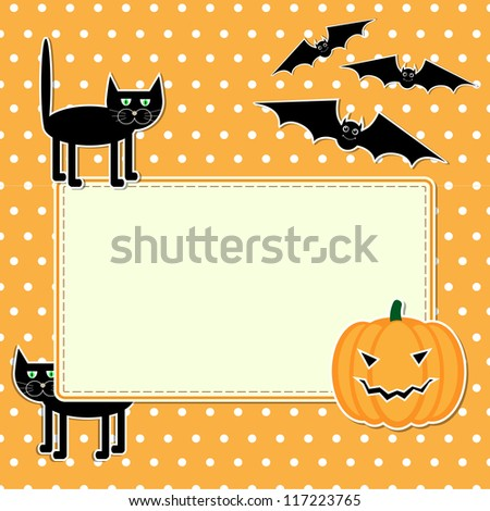 Halloween card with funny black cat. Raster version