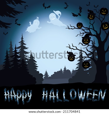 Halloween cartoon landscape with trees silhouettes, ghosts, pumpkins and bats. - stock photo