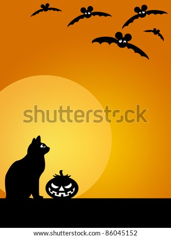 Halloween Carved Pumpkin Black Cat Moon and Flying Bats Illustration - stock photo