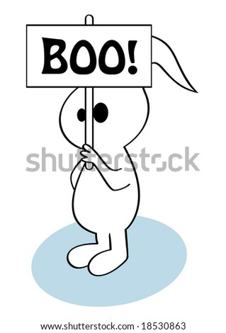 Halloween comic ghost with signboard - stock photo