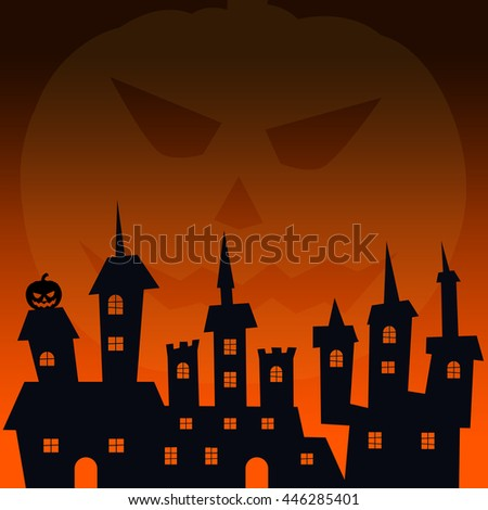 Halloween concept. Haunted house in silhouette black. Square format - stock photo
