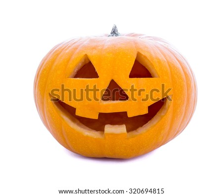 Halloween concept - pumpkin Jack-O-Lantern isolated on white background - stock photo