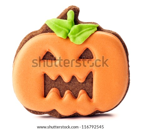 halloween cookies, chocolate covered orange - stock photo