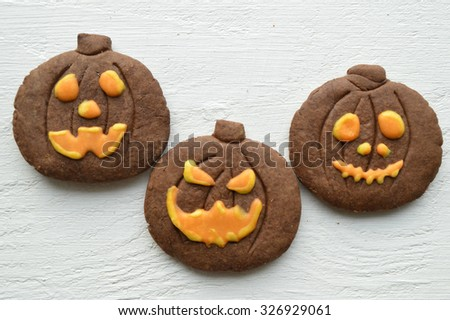 Halloween cookies.Composition for Halloween with sweets