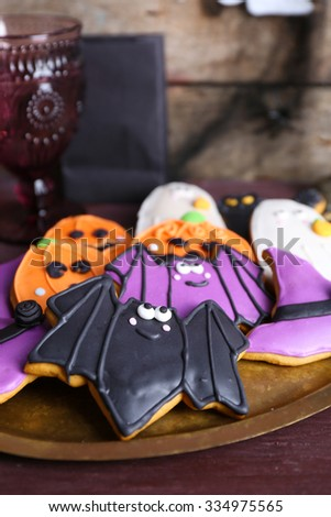 Halloween cookies on the server - stock photo