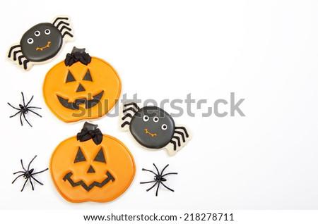 Halloween Cookies on White - stock photo