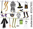 Halloween Costume Clothesline Clip Art Isolated on white - stock vector
