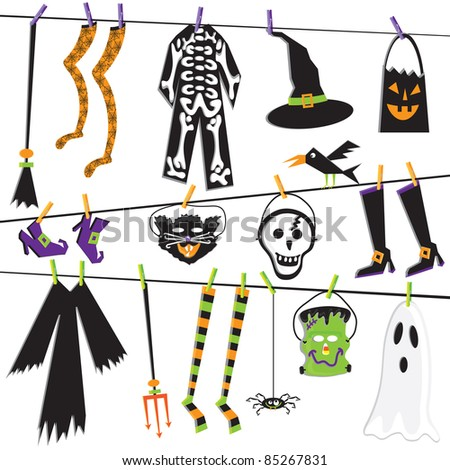 Halloween Costume Clothesline Clip Art Isolated on white - stock photo