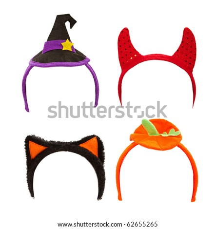 Halloween costume headbands including a witch hat, devil horns, cat ears and a pumpkin top - stock photo