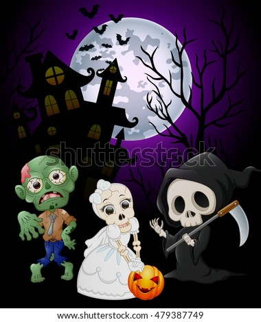 Halloween costumes grim reaper with skull bride and zombie on haunted castle background