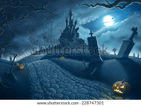 Halloween creepy night in the cemetery illustration - stock photo