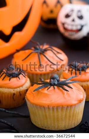 Halloween cupcakes - stock photo