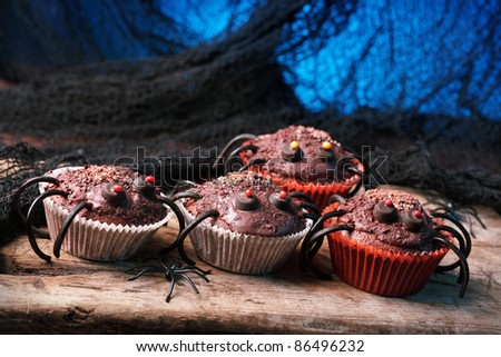 Halloween cupcakes for Halloween party - stock photo