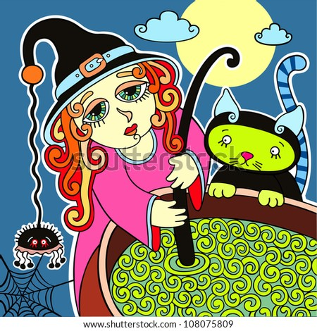halloween, cute witch with black cat prepares potion. Raster version - stock photo