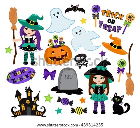 Halloween Cute Witches set. Raster copy.