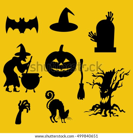 Halloween decor set. Witch, jack-o-lantern, ghost black cat zombie hands.  illustration