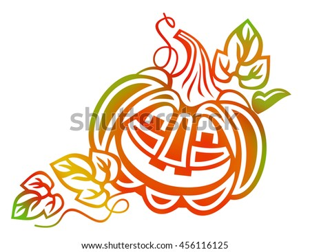 Halloween decoration Jack-o-Lantern silhouette. Raster clip art. - stock photo