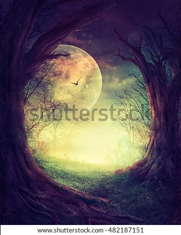 Halloween design. Festive background with autumn valley with woods, spooky tree and full moon. Space for your Halloween holiday text.