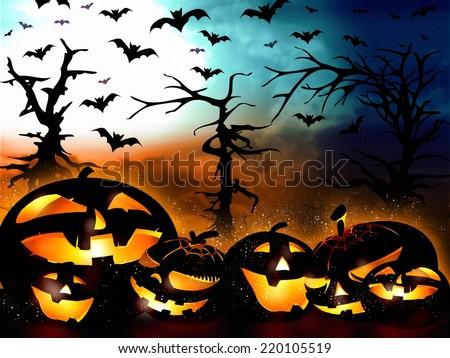 halloween design, pumpkins on the forest background illustration - stock photo