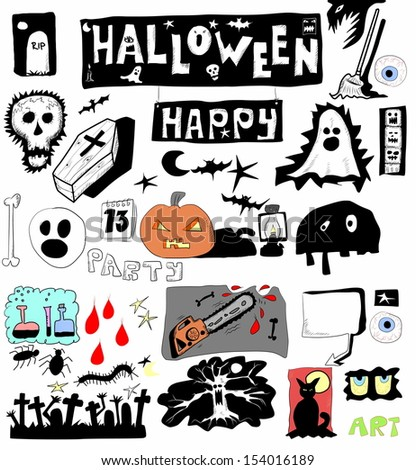 Halloween doodle set elements - stock photo