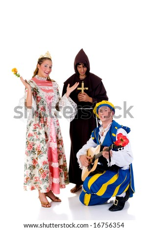 Halloween fairytale, Cinderella wearing gown, prince with guitar, priest in back. Studio, white background.