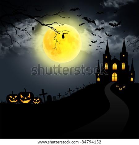 halloween full moon - stock photo