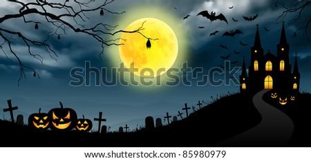 Halloween full moon, panorama. - stock photo