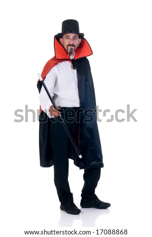 Halloween fun en creepy Count Dracula on white background - stock photo