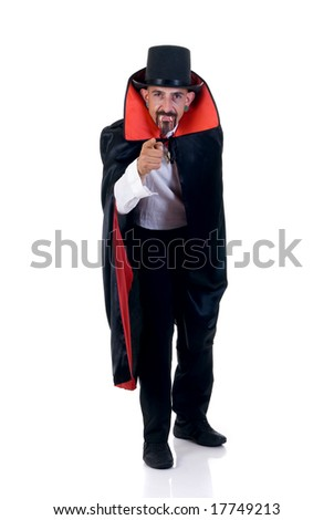 Halloween fun en creepy Count Dracula pointing at you, white background - stock photo