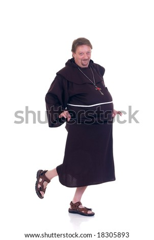 Halloween funny monk dancing on white background - stock photo